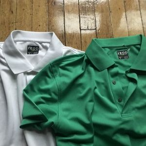 Izod Shirts - Izod Golf Men's Green and White Polo XL Lot of Two